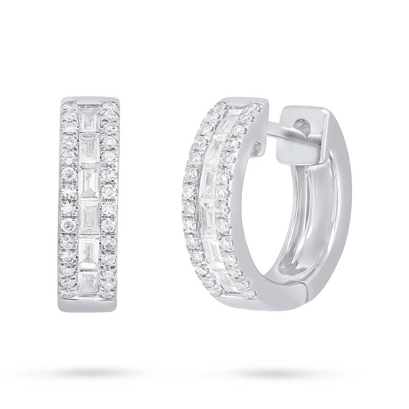 Cline 14k White Gold Diamond Huggie Earrings