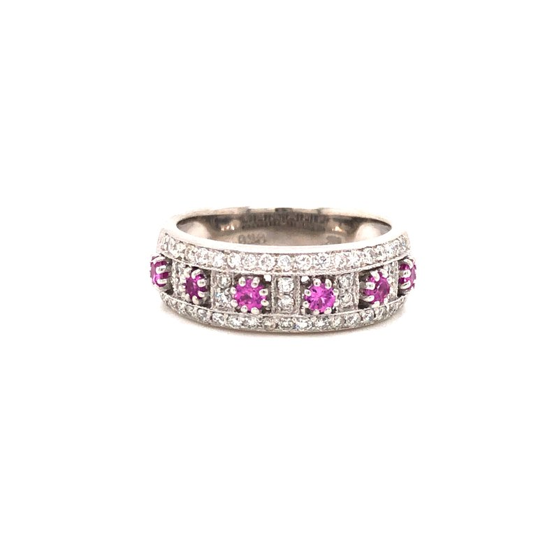 Cline Estate Pink Sapphire and Diamond Ring