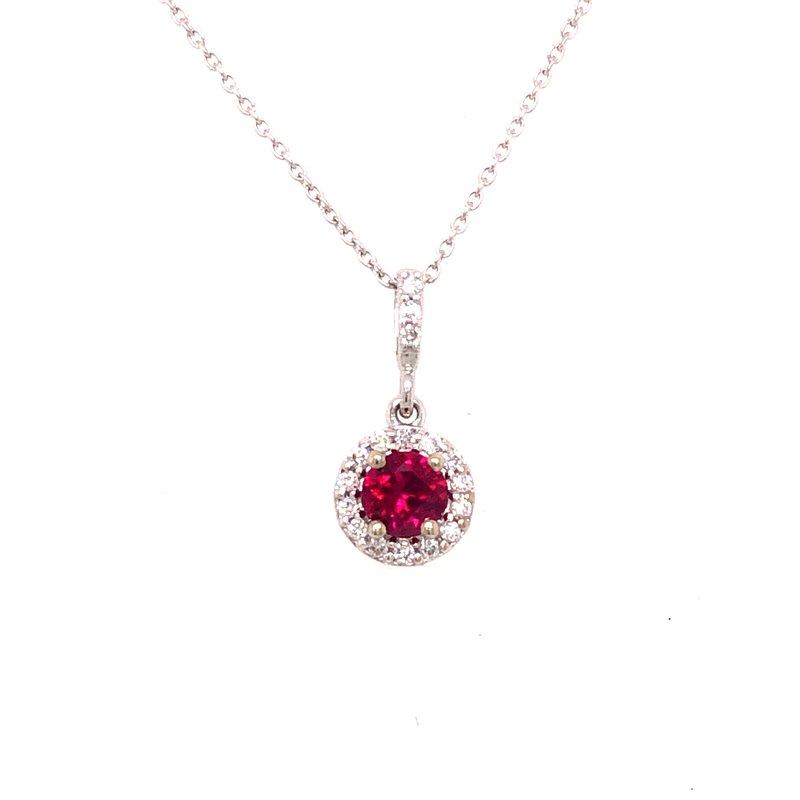 Cline Custom Ruby and Diamond Halo Pendant