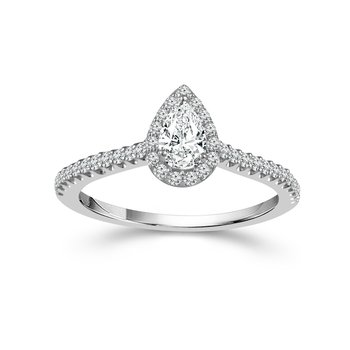 Pear Cut Halo Ring