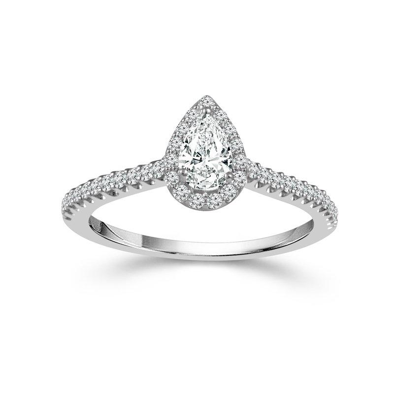Cline Pear Cut Halo Ring