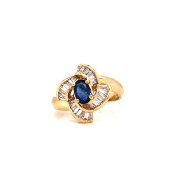 Estate Blue Sapphire and Diamond Ring