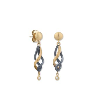 24k Gold and Oxidized Silver Earrings