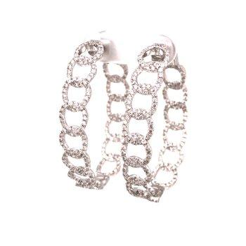 Diamond Chain Link Hoop Earrings