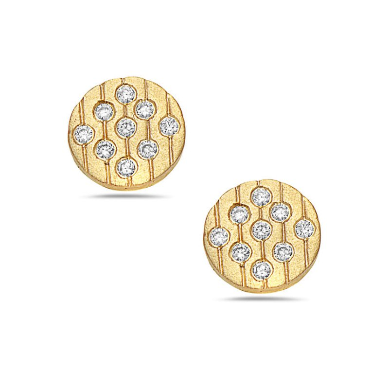 Cline 14k Yellow Gold Diamond Disc Earrings