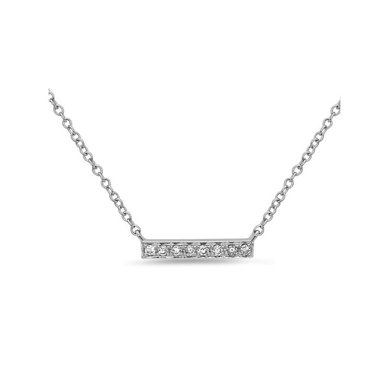 Cline 14k White Gold Diamond Bar Necklace