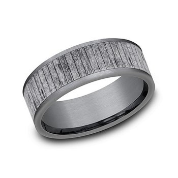Tantalum Band with Split Wood Pattern