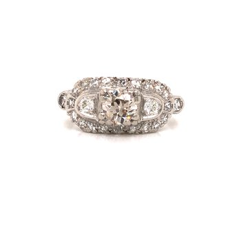 Estate 3 Stone Halo Ring