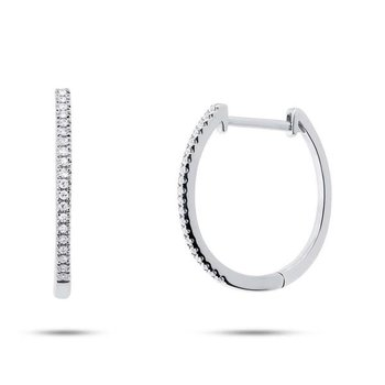 14k White Gold Diamond Oval Hoop Earrings
