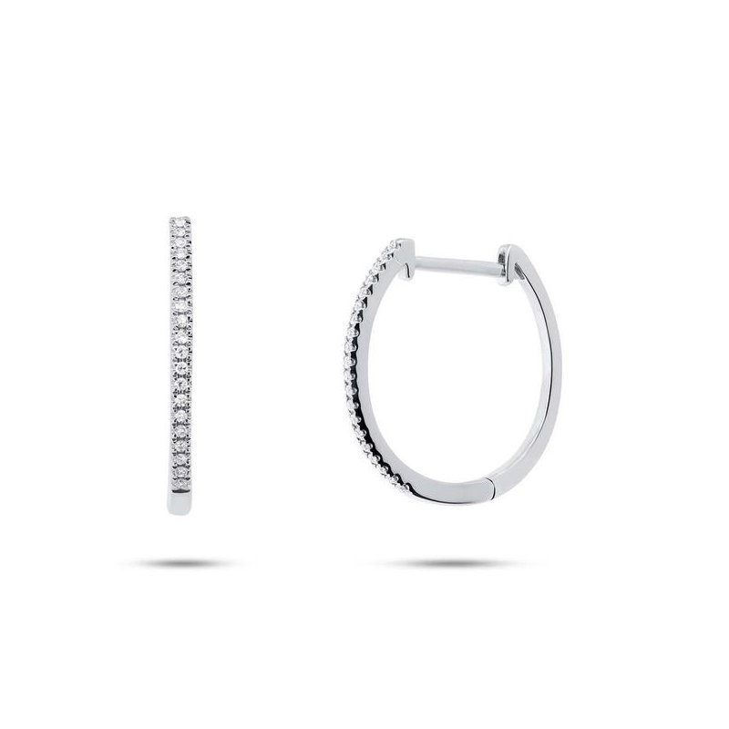 Cline 14k White Gold Diamond Oval Hoop Earrings