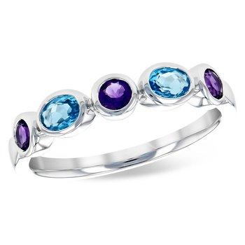 14k White Gold Blue Topaz and Amethyst Ring