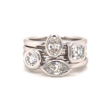 Bezel Set Asscher Cut Diamond Ring