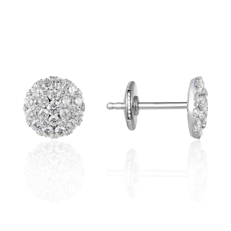 Cline White Gold Pave Stud Earrings