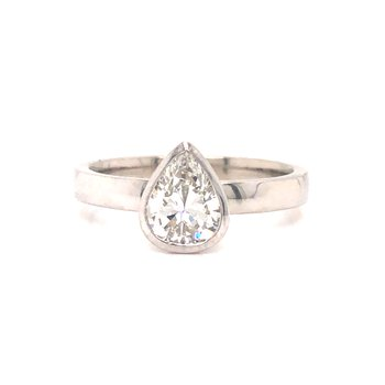 Bezel Set Pear Cut Diamond Ring