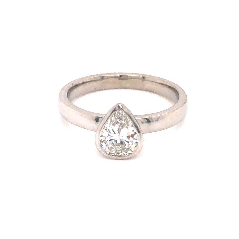 Cline Bezel Set Pear Cut Diamond Ring
