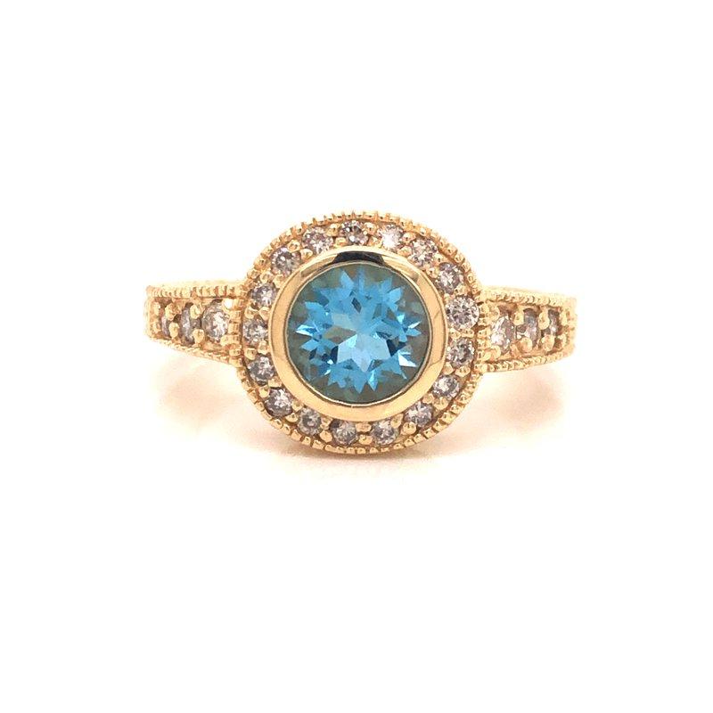 Cline Estate Blue Zircon and Diamond Ring