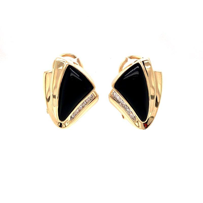 Cline Estate Onyx and Diamond Earrings