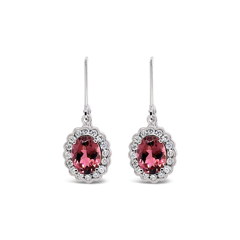 "Cline Custom Tourmaline ""Pie Crust"" Halo Earrings"