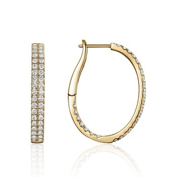 Double Row Diamond Hoops