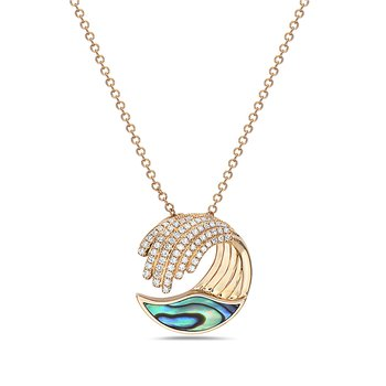 Diamond and Abalone Wave Necklace