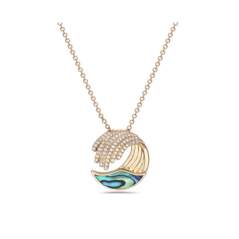 Cline Diamond and Abalone Wave Necklace