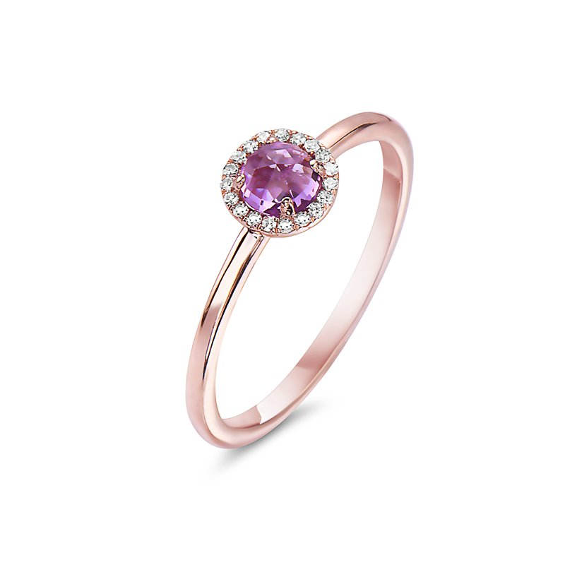 Cline 14k Rose Gold Amethyst and Diamond Ring