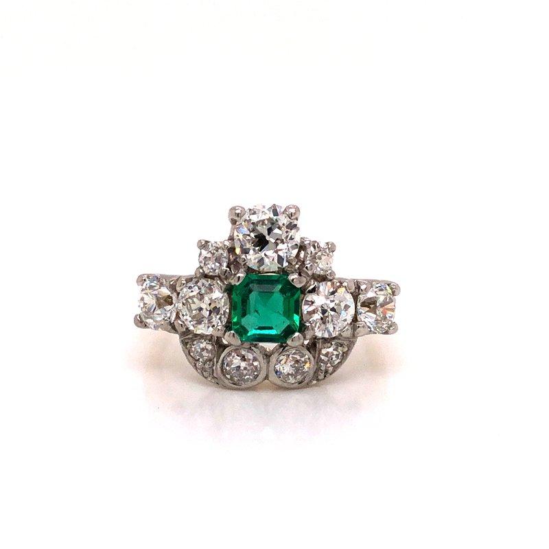 Cline Estate Emerald and Diamond Ring