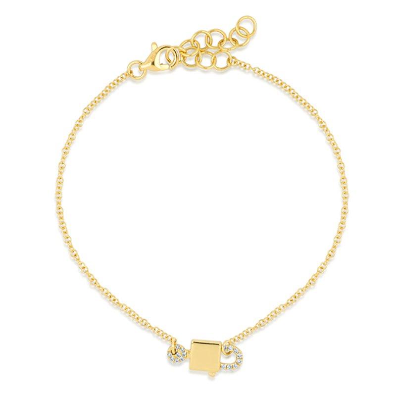 Cline Diamond Lock and Key Bracelet