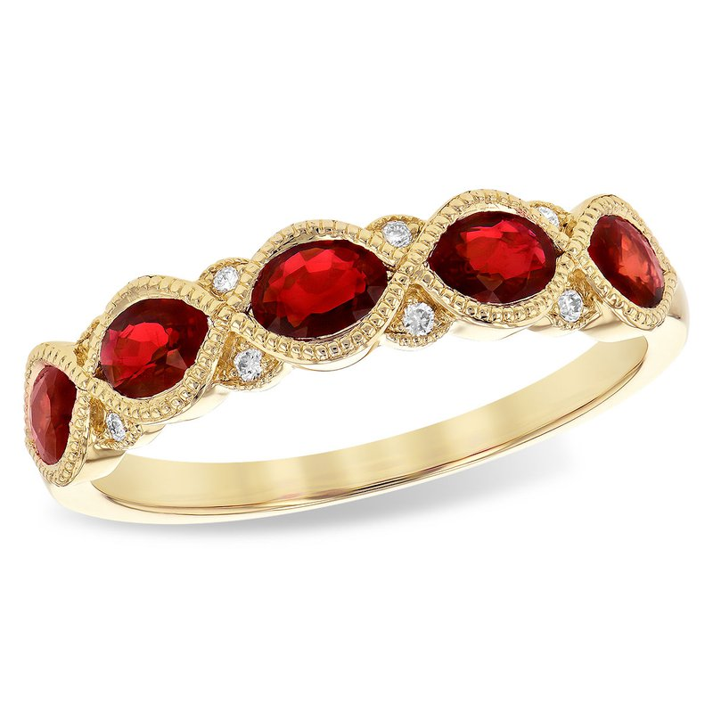Cline 14k Yellow Gold Ruby and Diamond Ring