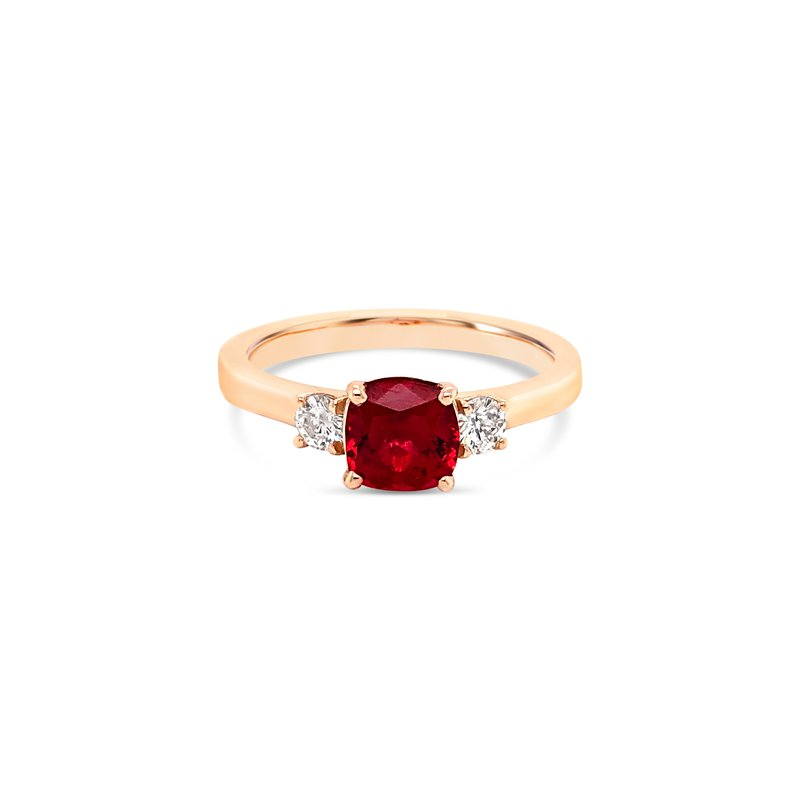 Cline Custom Red Spinel 3-Stone Ring