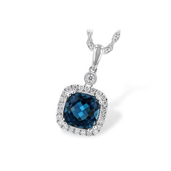 14k White Gold London Blue Topaz Necklace