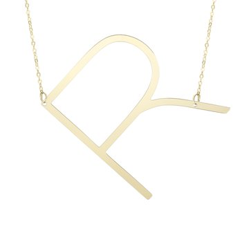 "14k Yellow Gold ""R"" Initial Necklace"