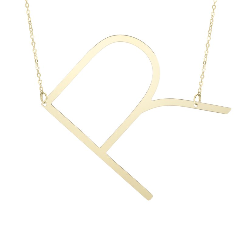 """Cline 14k Yellow Gold """"R"""" Initial Necklace"""