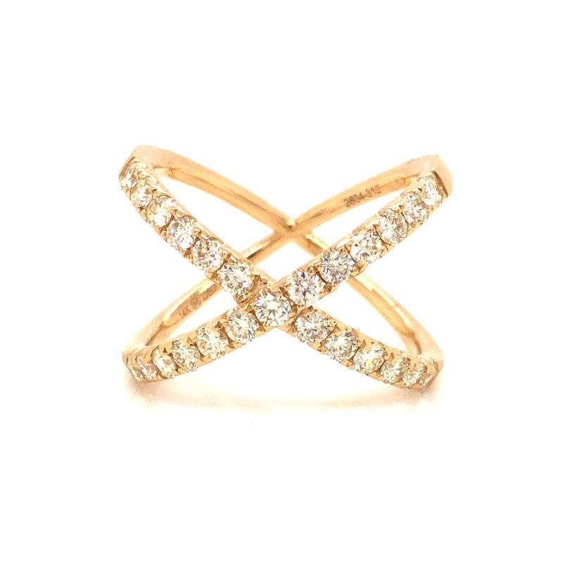 "Cline 14k Yellow Gold Diamond ""X"" Ring"