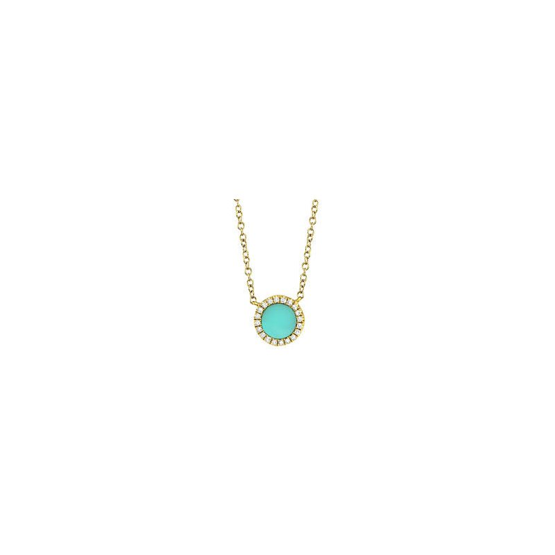 Cline 14k Yellow Gold Turquoise and Diamond Necklace