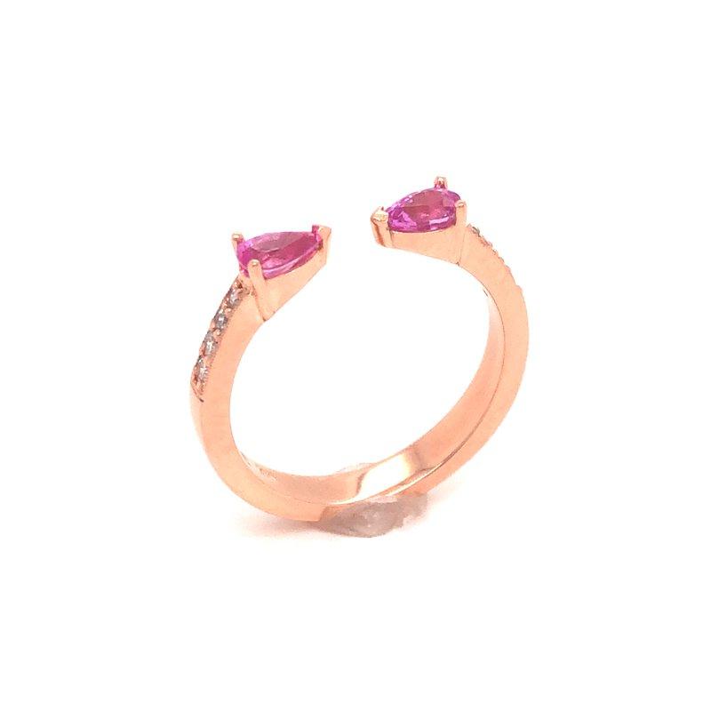 Cline Custom 14k Rose Gold Pink Sapphire and Diamond Ring