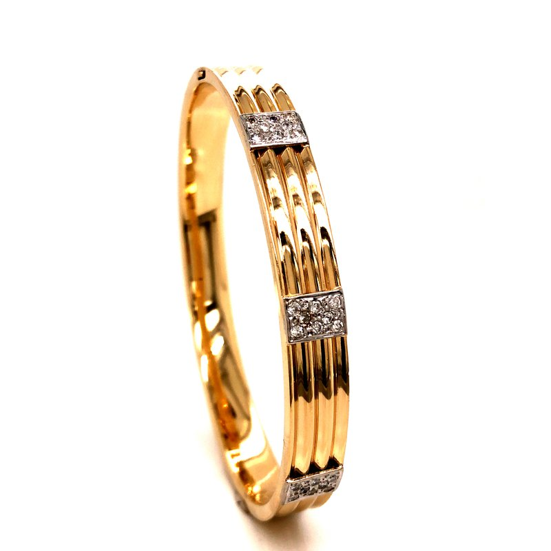 Cline Estate 14k Yellow Gold and Diamond Bangle