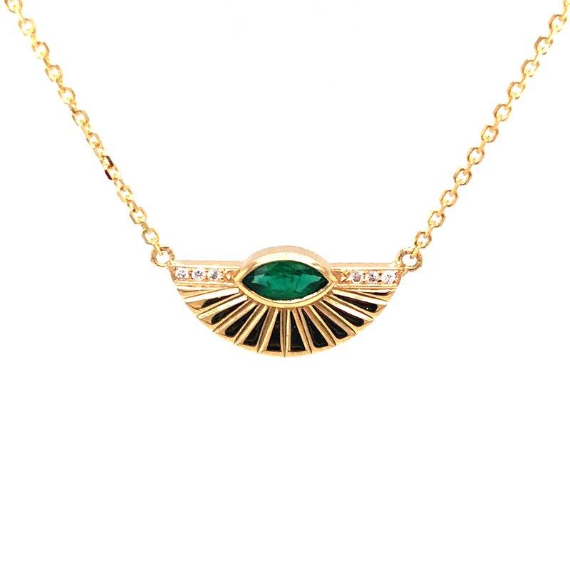 Cline Custom Emerald and Diamond Necklace