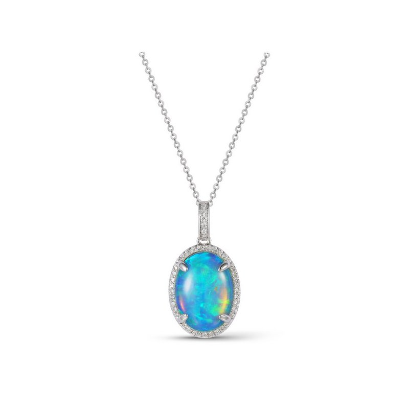 Cline 14k White Gold Opal and Diamond Necklace