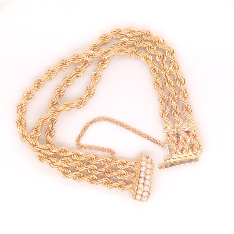 Cline Estate Rope Chain and Pearl Bracelet