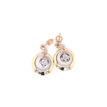 Estate 14k Yellow and White Gold Dangle Earrings