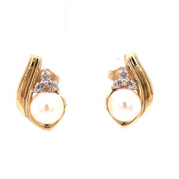 Estate Akoya Pearl and Diamond Earrings