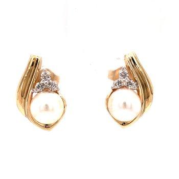 Estate Akoya Pearl and Diamond Earrings