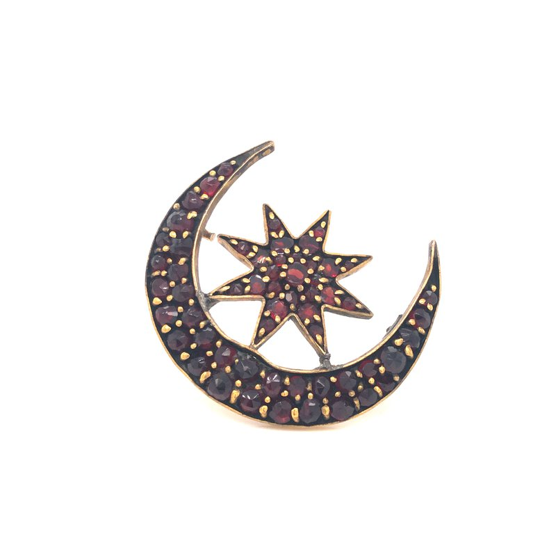 Cline Estate Bohemian Garnet Moon and Star Brooch