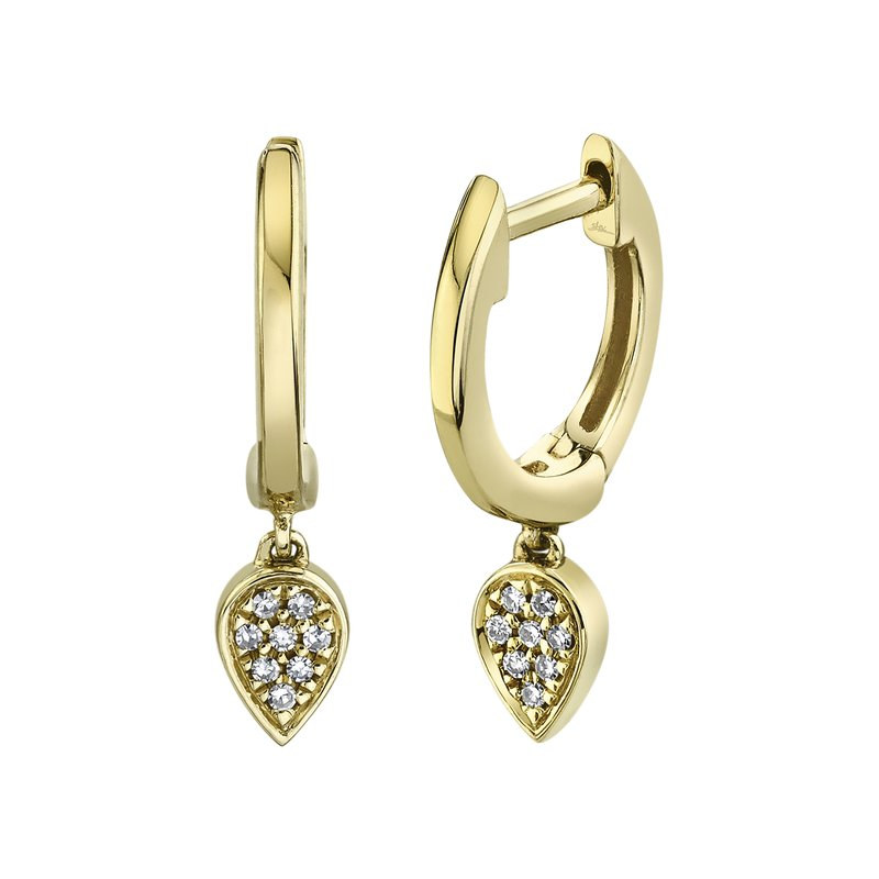 Cline Huggie Diamond Reverse Teardrop Earrings