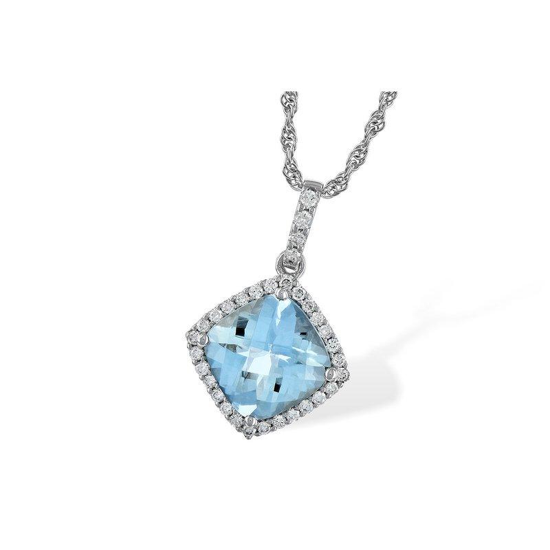 Cline 14k White Gold Aquamarine and Diamond Necklace