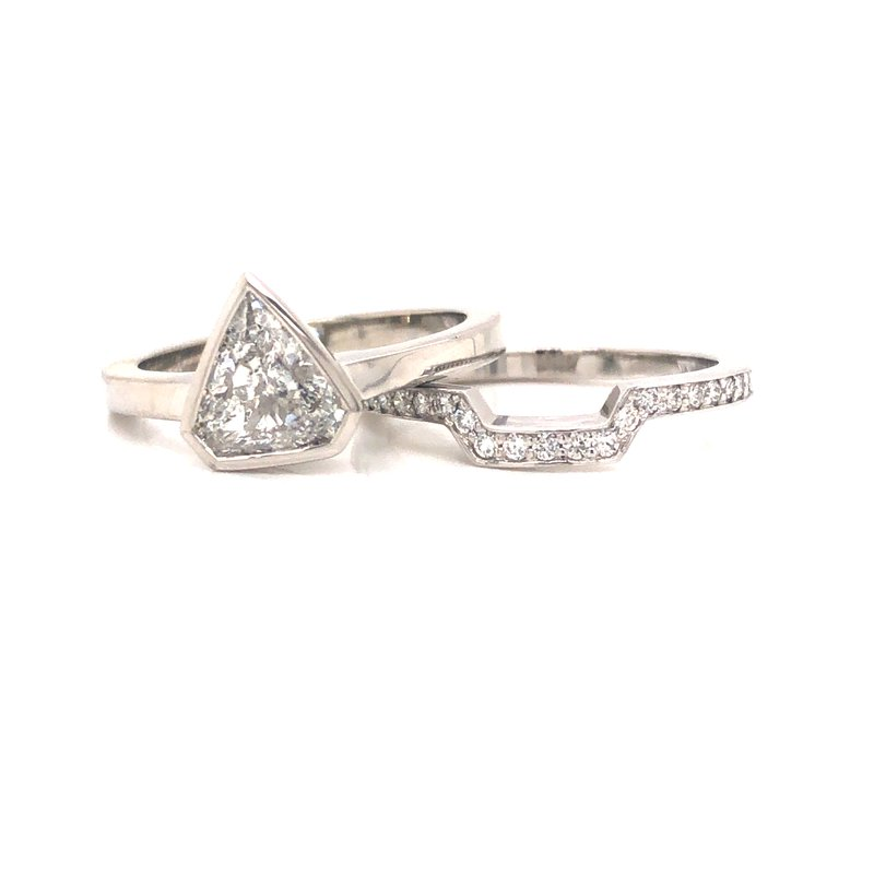 Cline Custom Bezel Set Shield Cut Diamond with Matching Shadow Band