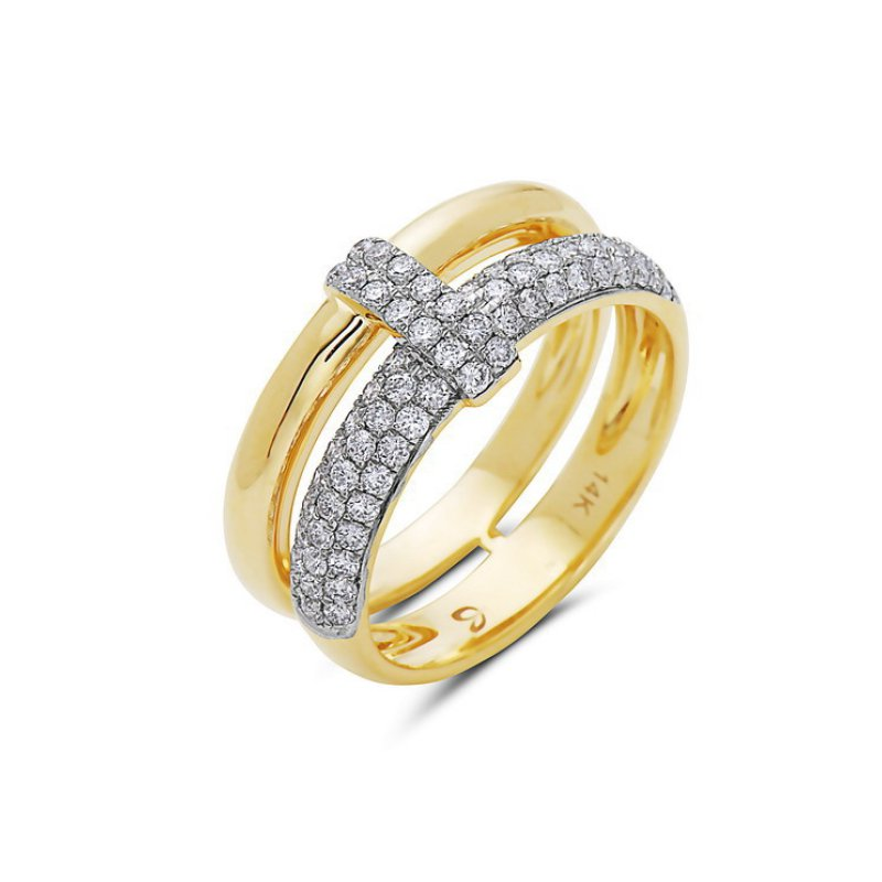 Cline Yellow Gold and Diamond Pave Band