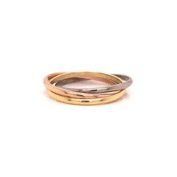 Estate 14k Tri-Color Rolling Ring