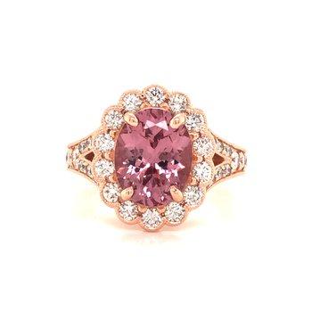 Garnet and Diamond Halo Ring
